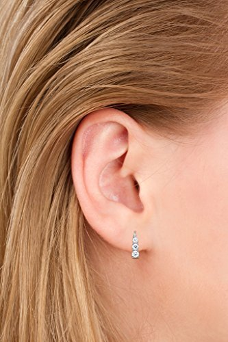 14K Solid White Gold Round Cut Leverback 3-Stone Cubic Zirconia Earrings, Basket Setting (1.90 ctw, Diamond Equivalent), Gift Box by Everyday Elegance Jewelry (Image #7)