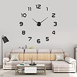 YESURPRISE 3D Frameless Wall Clock Modern Mute Large Mirror Surface DIY Room Home Office Decorations, Black