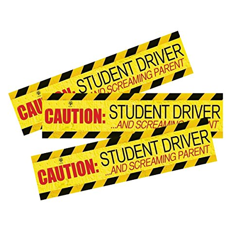 VaygWay Set of 3 '' Caution Student Driver Magnet….Screaming Parents'' Bumper Magnet Safety Sign - Car Vehicle Reflective Sign Sticker Bumper for New - Driver Beginner