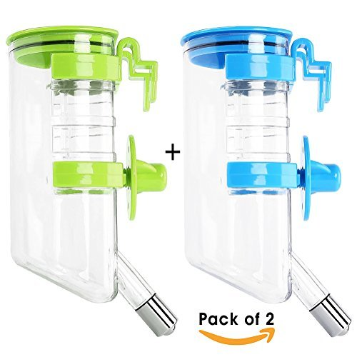 Minhe No Drip Pet Water Bottle Automatic Feeding for Dogs & Cats Small Animals,400ML/13.5(oz) Leak Proof Pets Drinking Water Dispenser (Pack of 2)