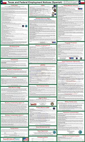 2017 (SPANISH) Texas State and Federal Labor Law Poster - Laminated 24