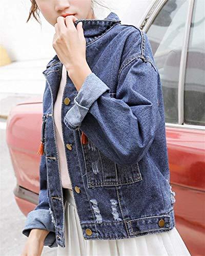 Lunghe Tempo Outerwear Giovane Giacca Jeans Moda Tassels Donna Style Libero Relaxed Aspicture Tendenza Autunno Primaverile Elegante Maniche Bavero Fidanzato Festa Ragazze t8qAz