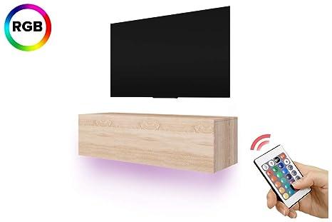 Lana Fernsehschrank Tv Lowboard Mit Led Rgb Modern Hängend 140 Cm Holzoptik Sonoma Eiche Matt