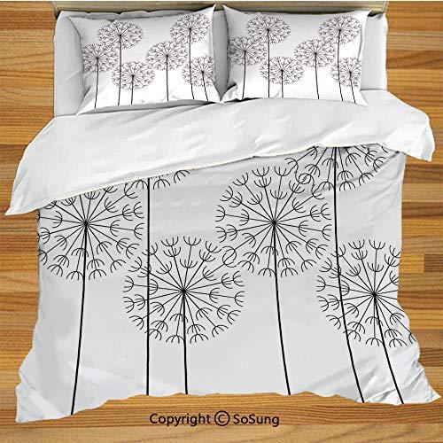 Size Bedding Duvet Cover Set,Modern Hand Drawn Digital Flower Dandelions Botanic Plants Nature Artwork Print Decorative 3 Piece Bedding Set with 2 Pillow Shams,Black and White ()