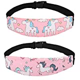 Accmor Baby Carseat Head Support Band Strap 2 Pack Unicorn Head Sleeping Support for Carseats Stroller Neck Relief Head Strap for Toddler Child Kids Infant(Pink Unicorn)