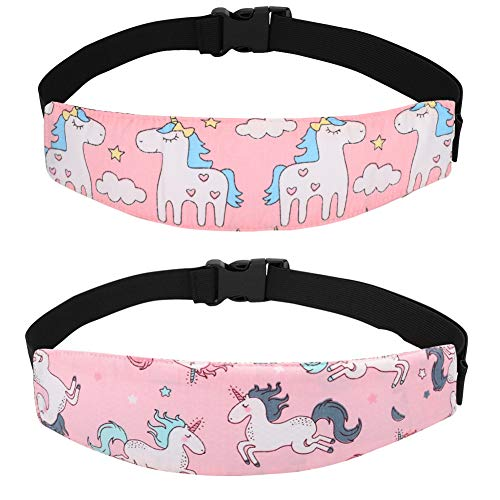 Childrens Neck Toddler Baby - Accmor Baby Carseat Head Support Band Strap 2 Pack Unicorn Head Sleeping Support for Carseats Stroller Neck Relief Head Strap for Toddler Child Kids Infant(Pink Unicorn)