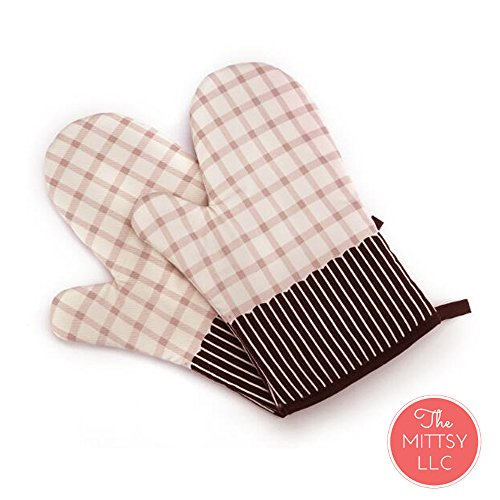Vintage Oven (Set of Two Oven Mitts | Heat Resistant Cotton Kitchen Pot Holder [Decorative Kitchen Oven Mitt] Oven Glove | Kitchen Mitts (Striped Brown))