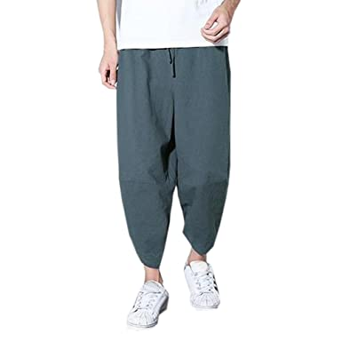 44532c75eb Men's Pant, Shybuy Men's Casual Cotton Baggy Hiphop Ankle Length Pants  Fashion Trousers for Men