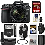 Nikon D7500 Wi-Fi 4K Digital SLR Camera & 18-140mm VR DX Lens with 64GB Card + Battery + Grip + Backpack + Flash + Strap + Filter Kit