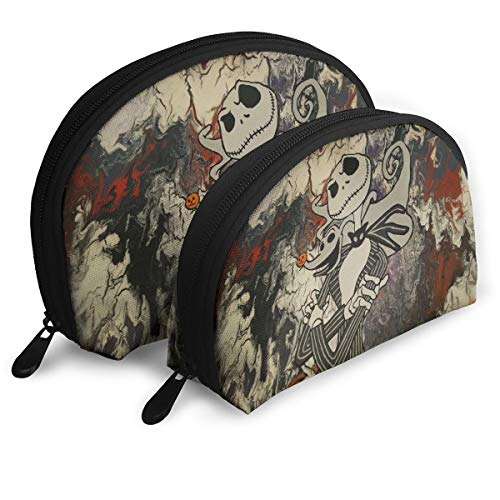 Choirfun Pack of 2 The Nightmare Before Christmas Portable Travel Makeup Cosmetic Bags Organizer Multifunction Clutch Pouch Case Kit Toiletry Bags for Women