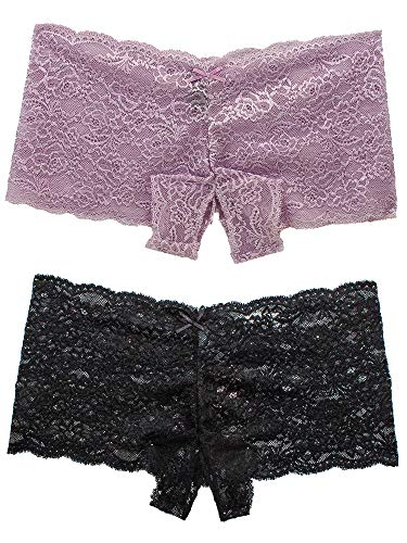 Barbra Lingerie Sexy Underwear Women Lace Open Crotch Discreet Boyshort 2PC (XX-Large, Mauve-Black-2pk)