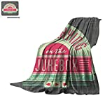 the alternative jukebox - Jukebox Digital Printing Blanket Charcoal Grey Backdrop with 50s Inspired Radio Music Box Image Oversized Travel Throw Cover Blanket 80