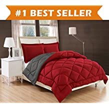 Elegant Comfort All Season Comforter and Year Round Medium Weight Super Soft Down Alternative Reversible 3-Piece Comforter Set, Full/Queen, Burgundy/Grey
