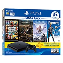 Paquete PlayStation 4 Slim 1 TB (Mega Pack) con 3 juegos (Horizon Zero Dawn, Days Gone, Grand Theft Auto V), FORTNITE Voucher y cupón de 3 meses para PS Plus - Bundle Edition