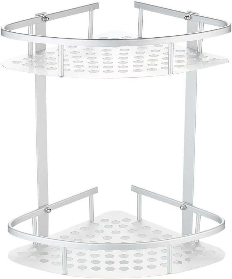 Hawsam No Drilling Bathroom Shelves, Aluminum 2 Tier Glue Shower Shelf Caddy Adhesive Storage Basket for Shampoo (Aluminum Corner Shelf)