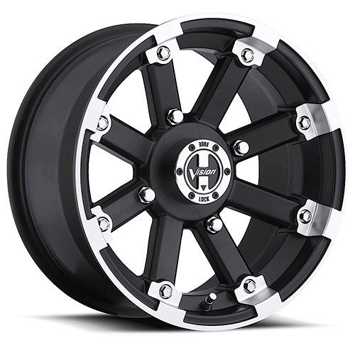 VISION 393 Lockout Matte Black Machined Lip Wheel with Ma...