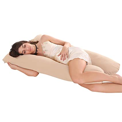 Extra Comfort U-Shaped Pregnancy Pillow Case Maternity Full Body Support Brown