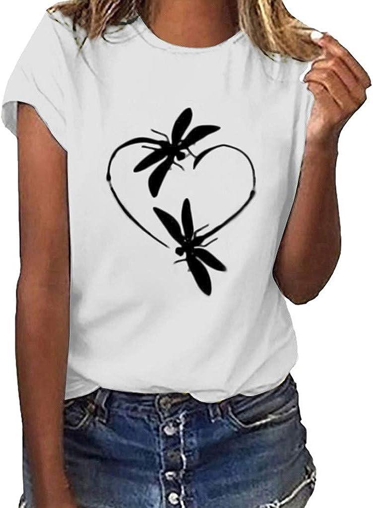 Moilant T-Shirt Womens Cute Dragonfly Print Tops Short Sleeves O-Neck Loose Blouse Tunics