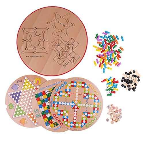 Fenteer 木製 多機能 10イン1 チェスゲーム セット 子供 おもちゃ