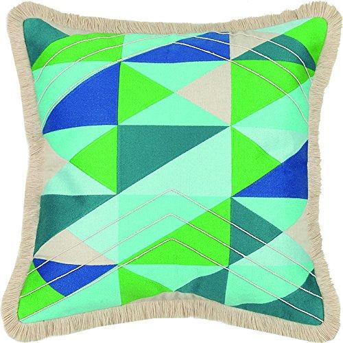 Trina Turk Colfax Brush Fringe Embroidered Pillow, 20x20 Inch, Blue