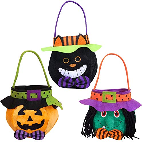 Green Lantern Halloween Bucket (3 Pack Halloween Trick or Treat Tote Bags Reusable Candy Grocery Totes Halloween Party Favor Bags for Kids, Pumpkin, Black Cat,)