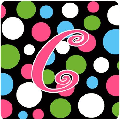 (Caroline's Treasures CJ1038-CFC Monogram-Polkadots and Pink Foam Coasters (Set of 4), Initial Letter C, 3.5