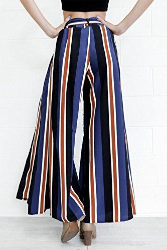 Colore di donne strisce pantaloni a gamba larga con spacchi laterali