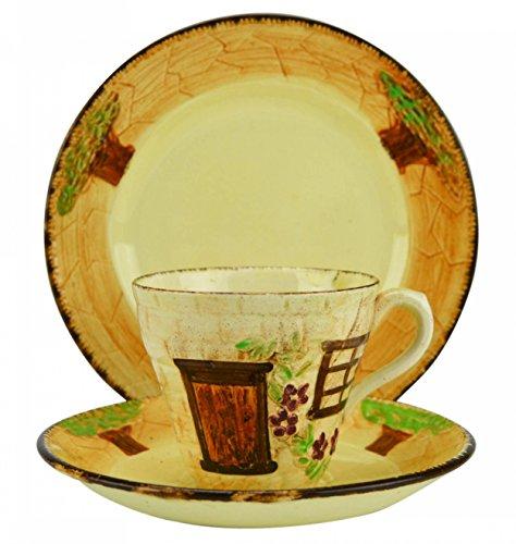6 Persons Shabby Chic Retro Cottage Plate J Shaw & Sons TEA SET Cup Ceramic Saucer Unique Orange 1960s English LS