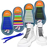 4 Pairs No Tie Shoelaces, Young Colorful Easy Shoelaces, Durable Adults Tieless/Silicone Elastic Sports Fans Shoe Laces for Outdoor/Athletic/Casual/Sneakers/Canvas Shoes