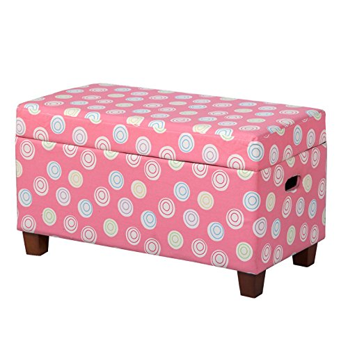 HomePop Youth Upholstered Storage Bench with Hinged Lid, Tufted Swirls on Pink -