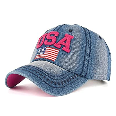 YAKER Washed Denim American Flag Embroidered Operator Cap Baseball Hat