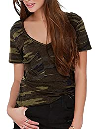 Women Sexy Camouflage Camo Wide V Neck Short Sleeve Tee Shirt Top