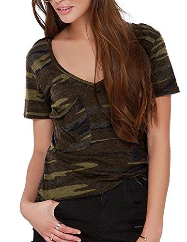 hodoyi Women Boyfriend V-neck Short Sleeves Camouflage Camo T-shirts Tops Tees(L,Military (Camo V-neck Tee)