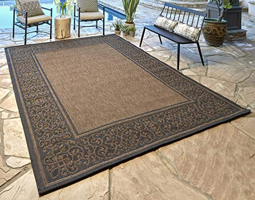 - Gertmenian 21589 Furman Outdoor Rug Patio Area Carpet, 8' x 10' Large, Abstract Border Raven