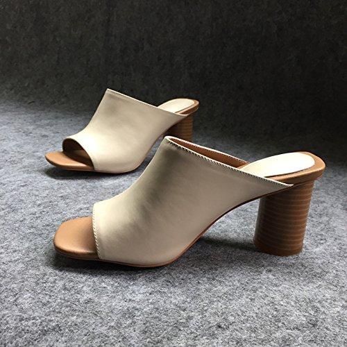 calzature 39 8cm Moda Donna pantofole ad scarpe Sandali Asolata con alta off Alla bianco tacco pesce grassetto Da AJUNR gOqvwgU