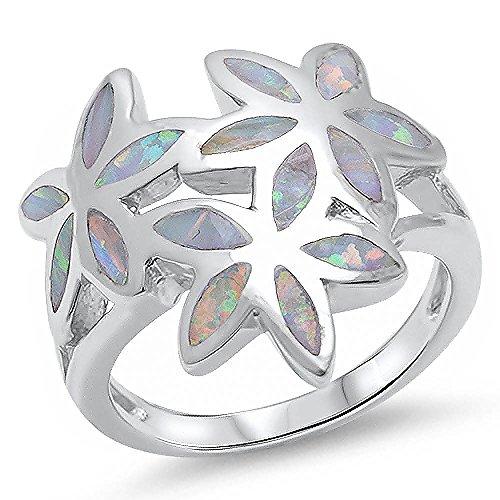 Flower Leaf Ring Lab Created White Opal Solid 925 Sterling Silver Split Shank Fashion 3 Flowers (Opal Ring Created Flower Silver)
