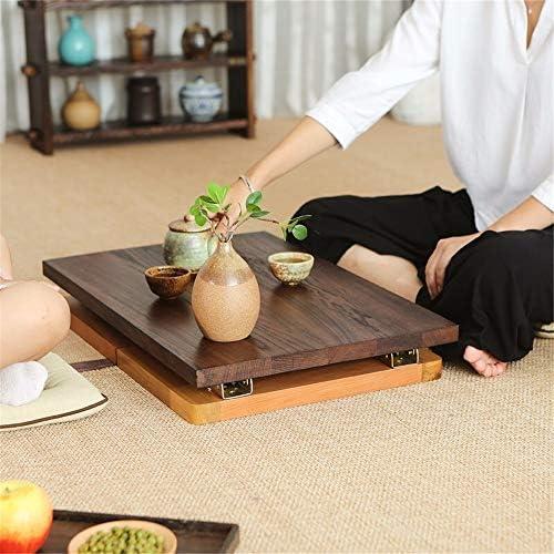 ちゃぶ台 座卓 日本のエルムティーテーブル折りたたみテーブル畳小さなティーテーブルベイウィンドウ表 ノートブックデスク (色 : 褐色, Size : 58x34x28cm)