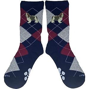Cavalier King Charles Tri-Color Embroidered Argyle Socks 2