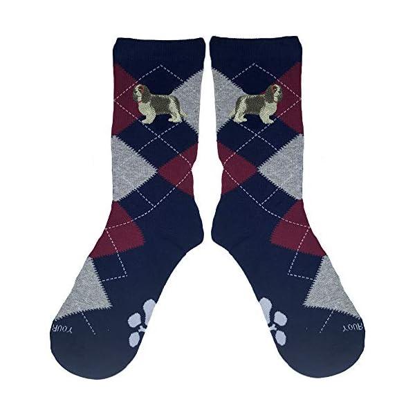 Cavalier King Charles Tri-Color Embroidered Argyle Socks 1