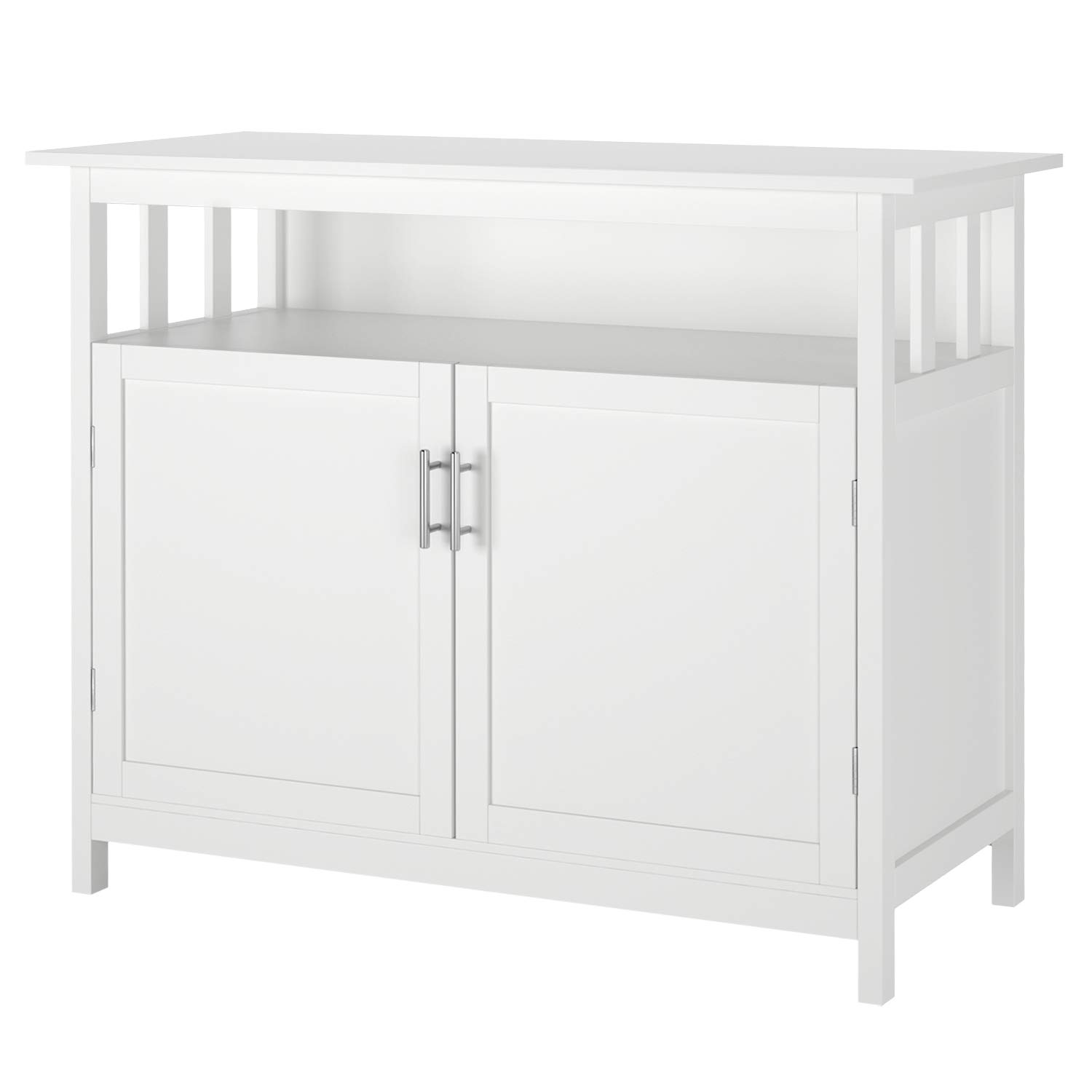 Homfa Kitchen Sideboard Storage Cabinet, Large Dining Buffet Server Cupboard Cabinet, Console Table with Display Shelf and Double Doors, White