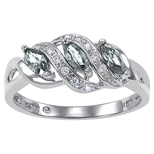 ArtCarved Heart Charm Simulated Aquamarine Birthstone Women's Ring, Sterling Silver, Size 6.5