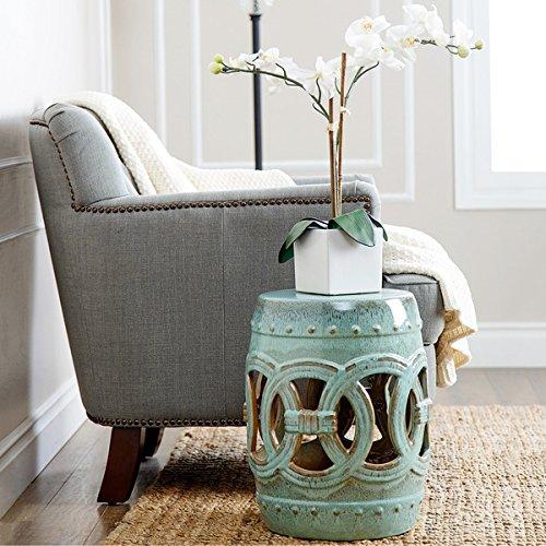 Ceramic Garden Stool Teal Blue Side Table Rustic Look