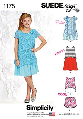 Simplicity Suede Says Pattern 1175 Girls Plus Dresses, Top and Shorts Sizes 8 1/2- 16 1/2