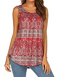 c939032bc75 Women's Paisley Printed Pleated Sleeveless Blouse Shirt Casual Flare Tunic  Tank Top