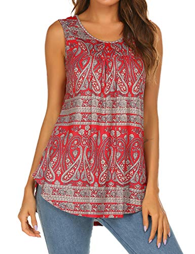 Halife Women Crew Neck Sleeveless Floral Print Shirt Tops Tee Tanks Camisole Red1,XL