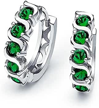 Bling Jewelry Sterling Silver Simulated Emerald CZ Waved Huggie Earrings