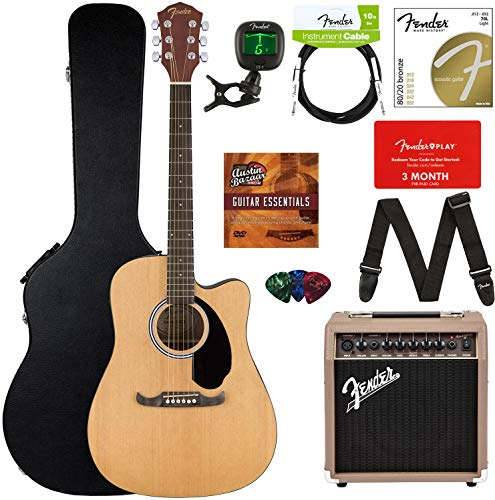 Fender FA-125CE Acoustic-Electric Guitar Bundle with Acoustasonic Amp, Case, Cable, Strap, Strings, Tuner, Picks, Fender Play Online Lessons, and Austin Bazaar Instructional DVD