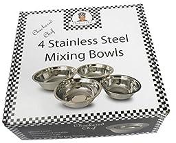 Checkered Chef Stainless Steel Mixing Bowl Set, 4 Metal Prep Bowls. Dishwasher Safe.