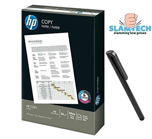 Slamtech/® HP A4 80gsm Office White Copier Printer Paper 500 Sheets With Free 1 Stylus