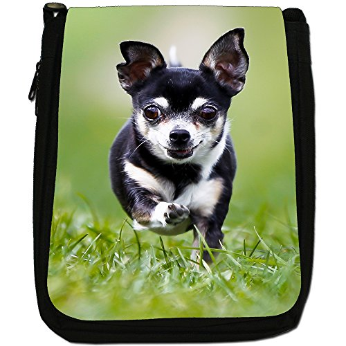 Chihuahua Bell Running Shoulder Canvas Dog Taco Medium Size Mexican Black Bag White 1wEd4xqwaP